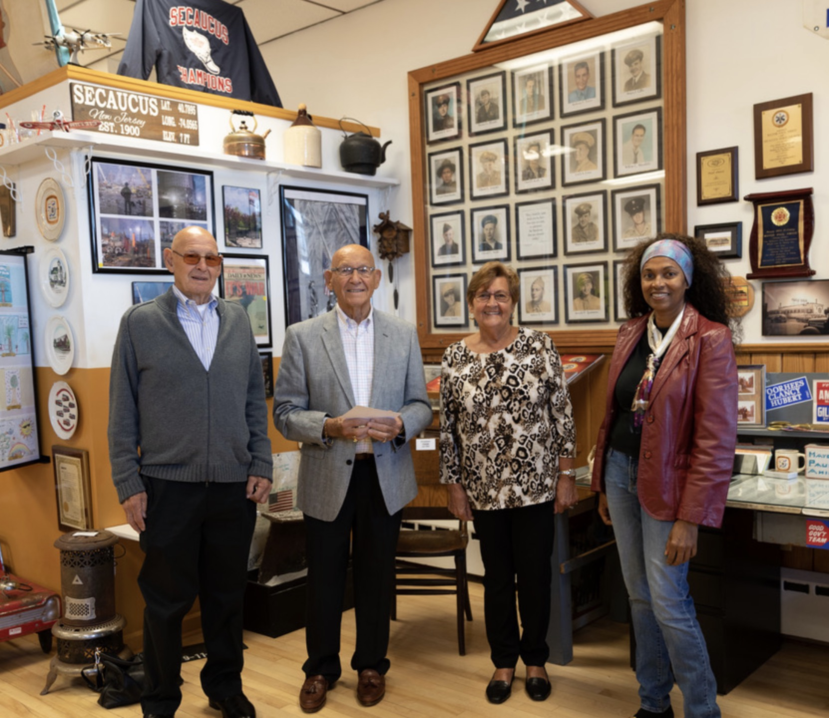 After the dedication the Meisch Family visited the museum.  From left to right:  John Heflich, Ralph Block, Dottie Heflich and Angela.